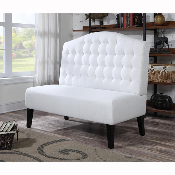 White Banquette: NM Exclusive Bolin Ivory Banquette