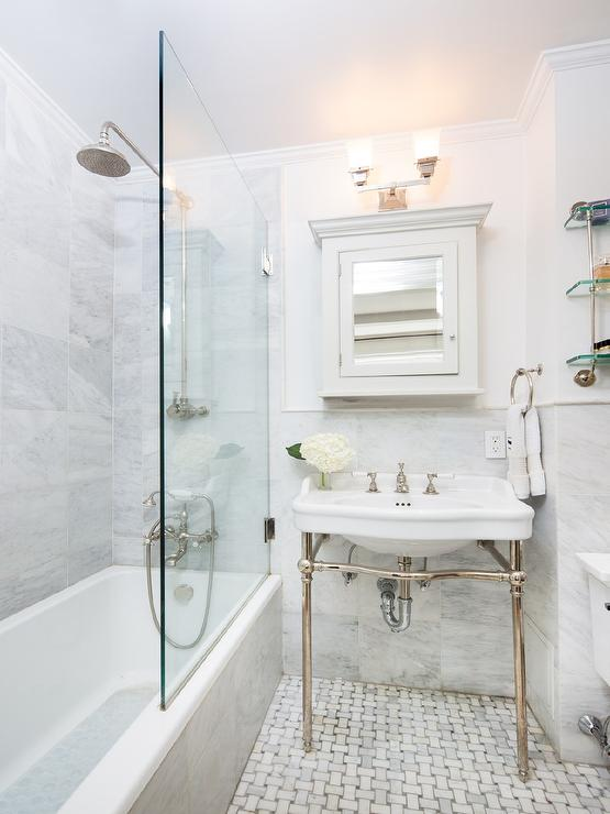 Bathroom with Polished Nickel Medicine Cabinet - Transitional ...