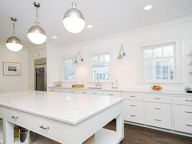 Three Hicks Pendants Above Center Island Transitional Kitchen - Pendants above island
