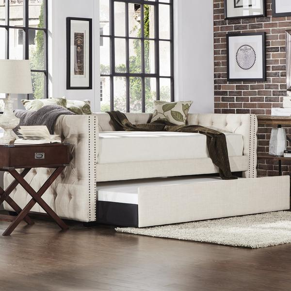 79a6c5b8a13b Tribecca Home Knightsbridge Tufted Nailhead Daybed with Trundle in Beige