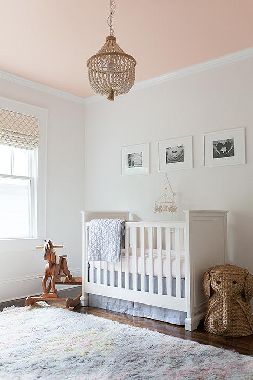 Blue and pink nursery with beaded chandelier transitional nursery blue and pink nursery with beaded chandelier aloadofball Image collections
