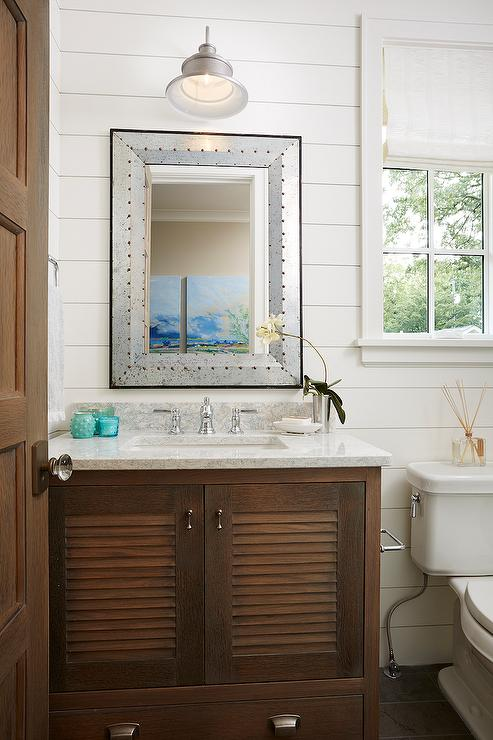 White Rustic Bathroom Mirror