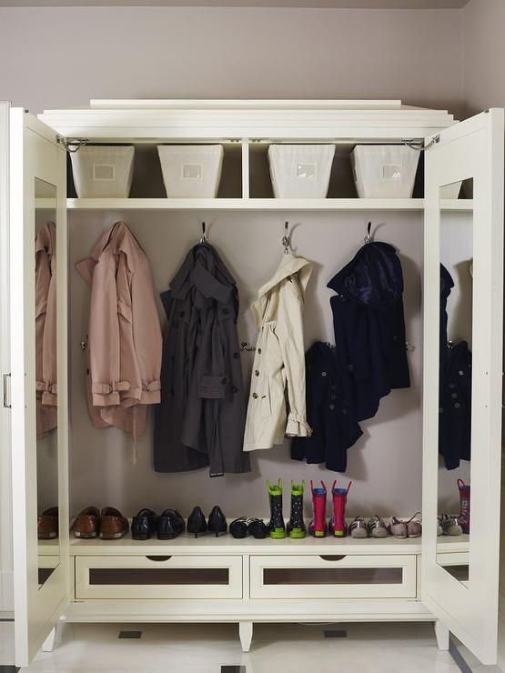 Freestanding Wardrobe Cabinet with Mirrored Doors - Traditional ...