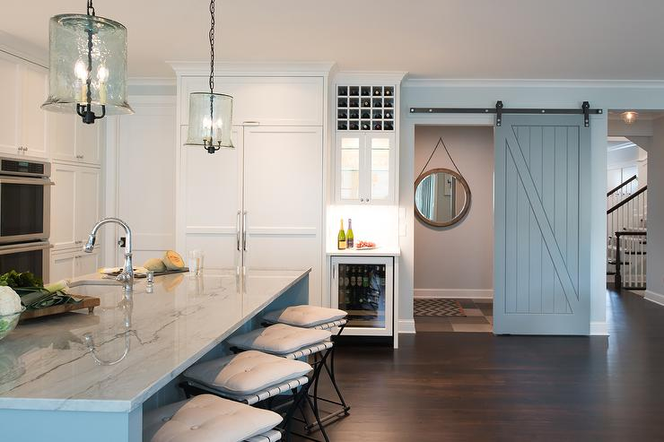 Gray Powder Room Barn Doors On Rails Transitional Kitchen