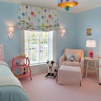 Pink and Blue NUrsery with Guest Bed