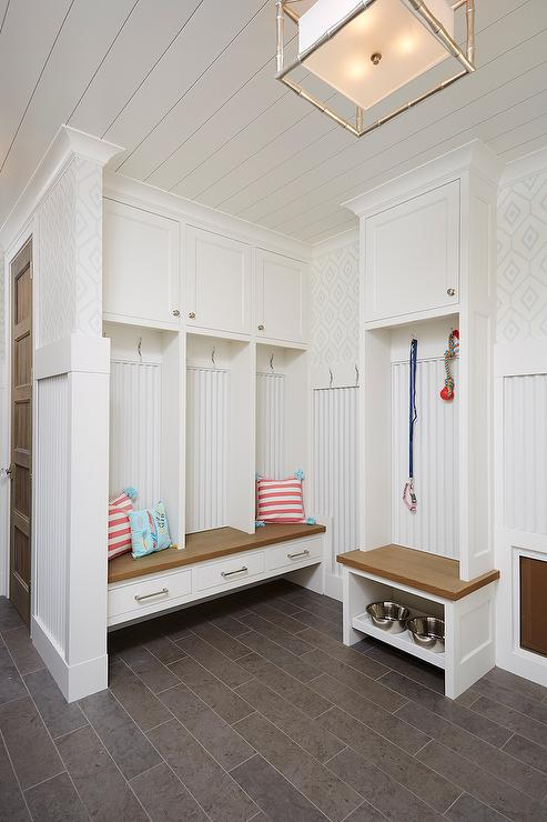Mudroom With Built In Dog Food Bowls Cottage Laundry Room
