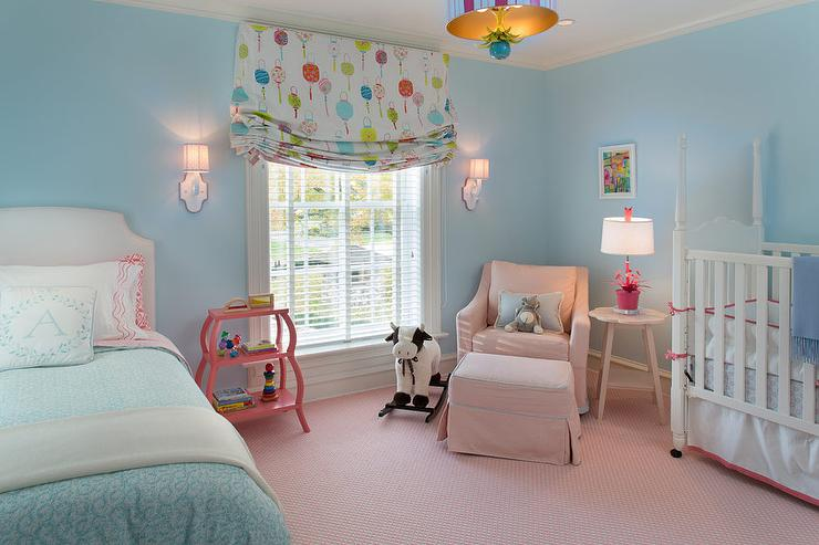 Pink And Blue Nursery With Guest Bed Traditional Nursery