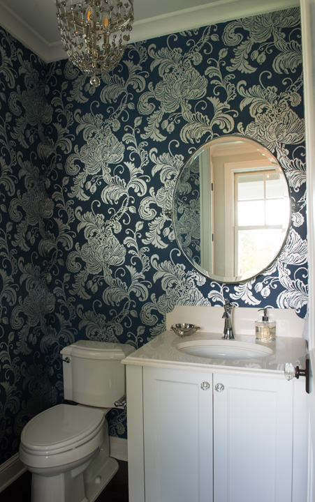Blue and silver metallic foil powder room wallpaper for Blue and silver bathroom accessories