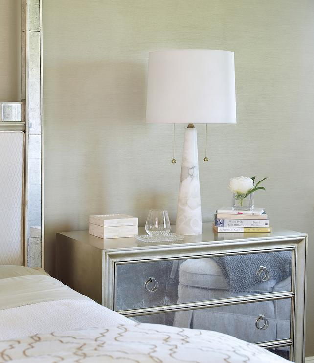 silver leaf nightstand with mirrored drawers and white alabaster lamp transitional bedroom. Black Bedroom Furniture Sets. Home Design Ideas