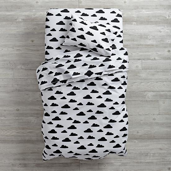 With A Chance Of Toddler Bedding In Black And White