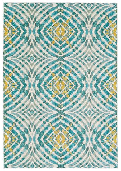 Desert Teal And Yellow Mosaic Rug