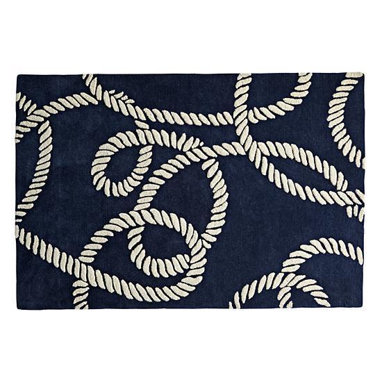 Navy Nautical Symbols Rug