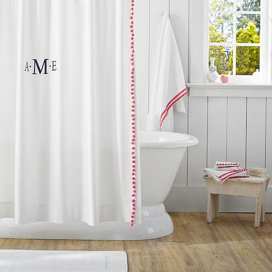 Plum And Bow Pom Pom Dot White Shower Curtain