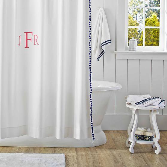 Plum And Bow Pom Pom Dot White Shower Curtain