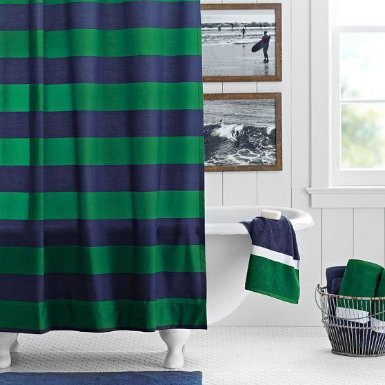 Very best Blue and Green Rugby Stripe Shower Curtain AT44