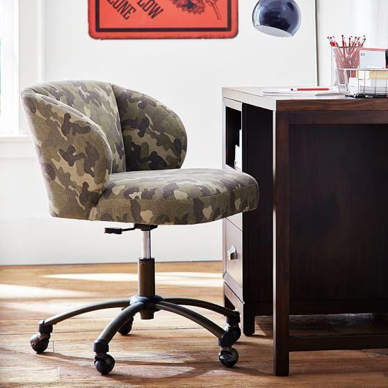 Green Camo Wingback Desk Chair