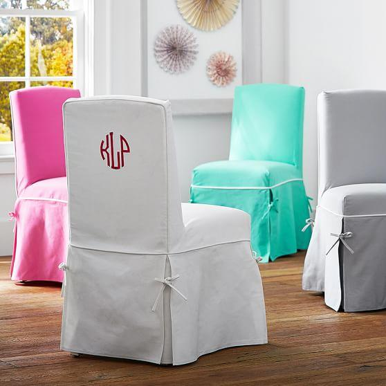 White Pleated Skirt Parsons Chair Slipcover