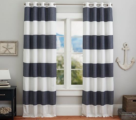 window treatments - twill light blocking curtain striped panel stripe