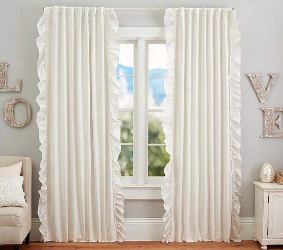 Pottery Barn White Ruffle Blackout Curtains Curtain Menzilperde Net