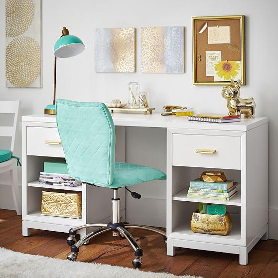 White Rowan Cubby Storage Desk