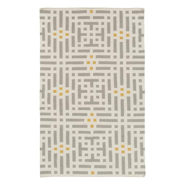 Aravali Flatweave Citrine Grey And Yellow Geometric Area Rug