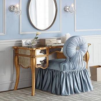 Gold Haute House Vienna Mirrored Vanity. Claudia  Mirrored Vanity Desk   Vanity Seat   Neiman Marcus