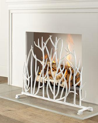 Miscellaneous - Handcrafted single panel fireplace screen with decorative twig design.