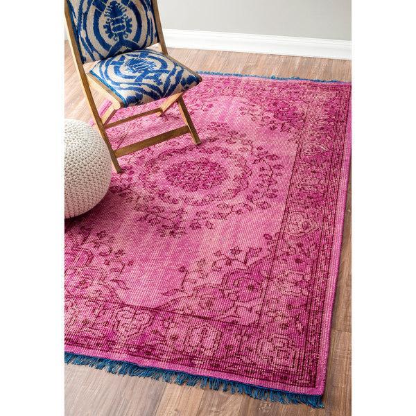 nuLOOM Hand Knotted Vintage Wool Pink Rug