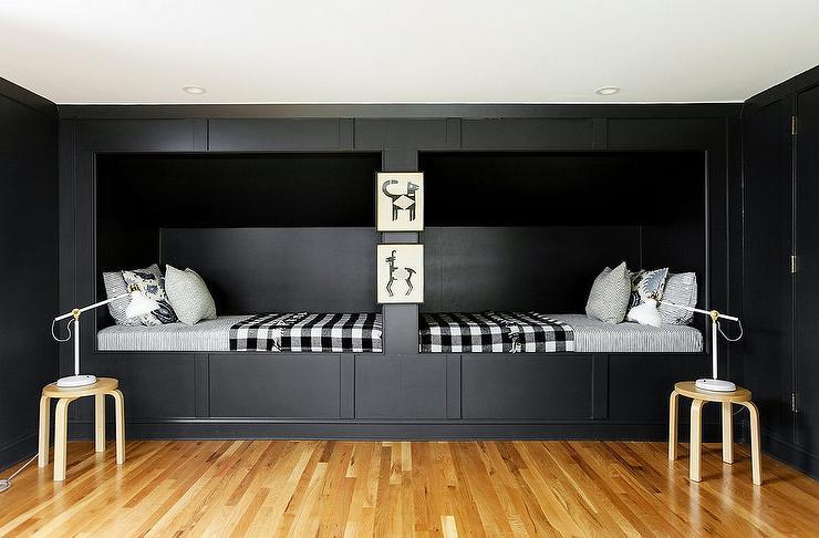 Black Built In Kids Beds with Black Gingham Blankets