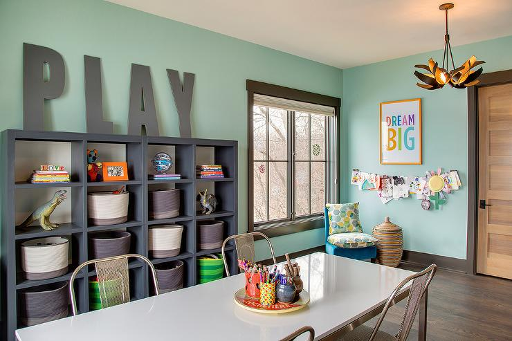 Contemporary Homework Room With Gray Shelves