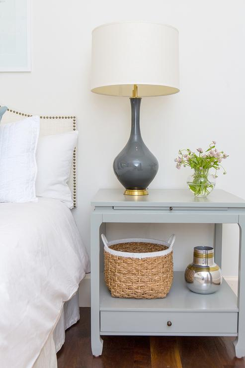 Gray Nightstand With Charcoal Gray Lamp