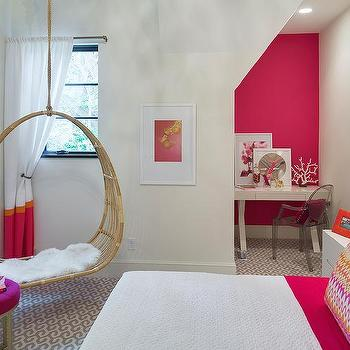 Kid Bedroom Hanging White Rattan Chair Design Ideas