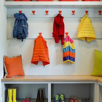 colorful coat hooks. Colorful Mudroom With Red Coat Hooks Over Maple Bench Colorful Coat Hooks I