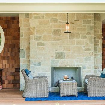 Covered Patio Stone Fireplace Design Ideas