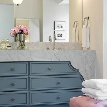 pink and blue bathroom with lucite bench. Black Bedroom Furniture Sets. Home Design Ideas