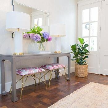 Stools under console tables design ideas gray foyer table with pink stools aloadofball Image collections