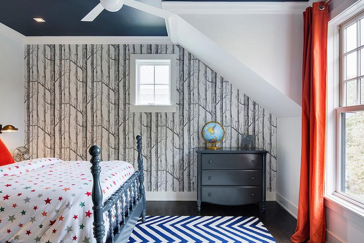 Navy Blue And Orange Bedroom The Image