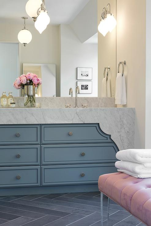 Pink And Blue Bathroom With Lucite Bench