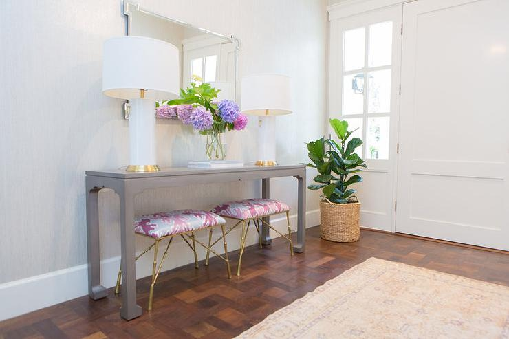 Unique Gray Foyer Table with Pink Stools - Transitional - Entrance/foyer CG52