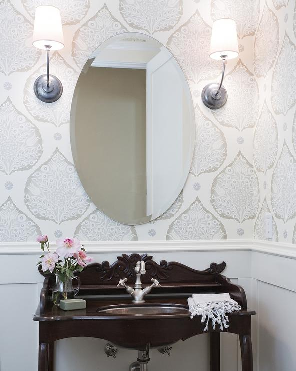Powder Room With Wainscoting And Lotus Wallpaper