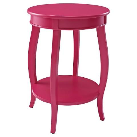 Pink Round Table.Pink Powell Round Table With Shelf