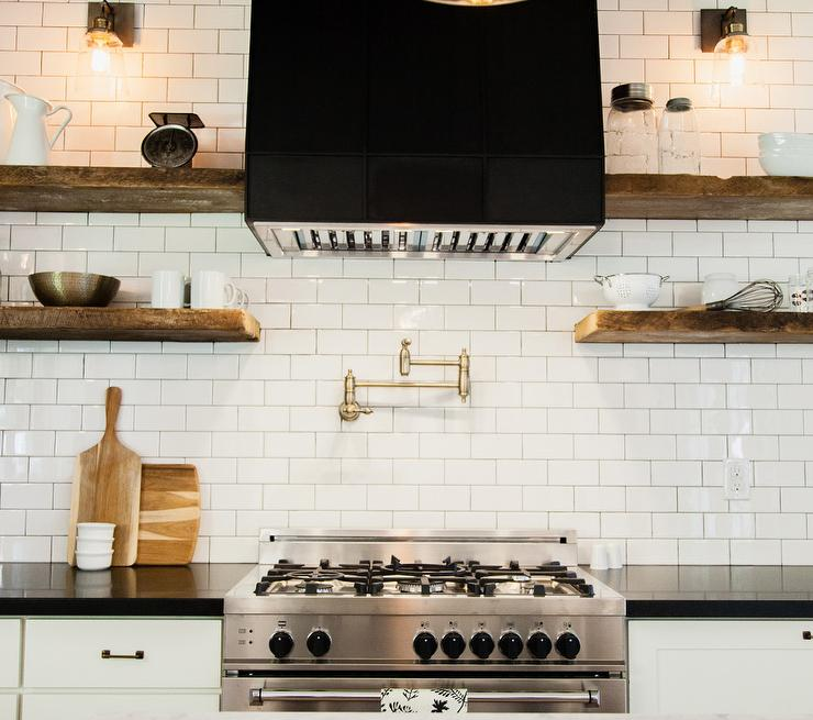 Black Range Hood with Wood Shelves - Country - Kitchen