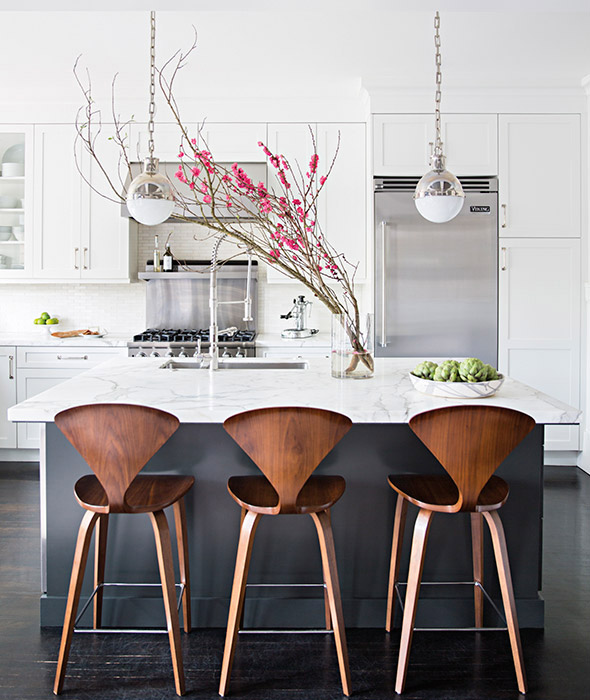 Modern Kitchen Bar Stools Kitchen Islands With Table: Charcoal Gray Kitchen Island With White Marble Counters