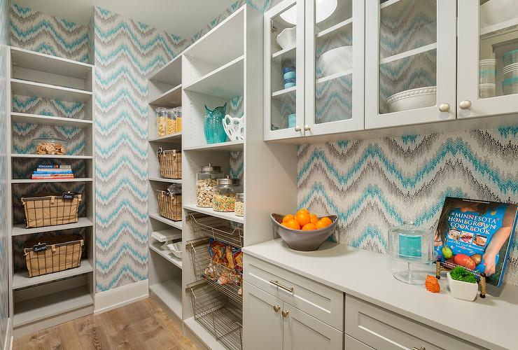 Contemporary Kitchen Pantry With Pull Out Wire Baskets
