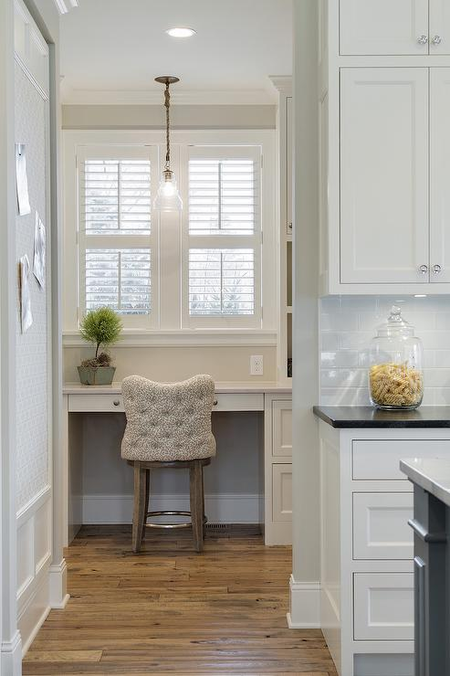 Walk In Pantry with Desk and Plantation Shutters Cottage Kitchen