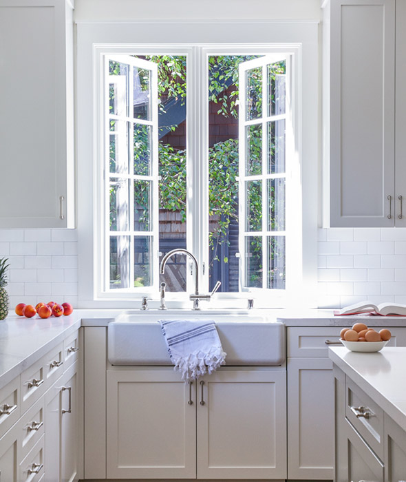 Farmhouse Sink Under Push Out Kitchen Windows