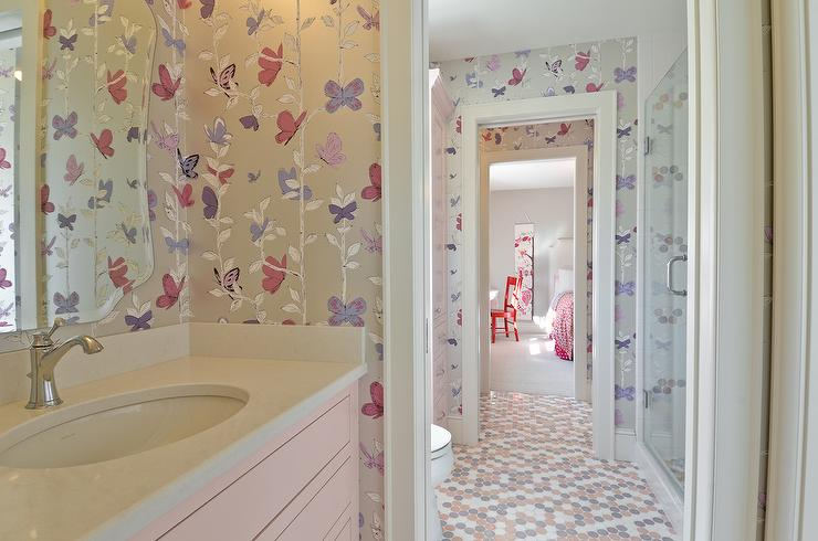 Gray And Pink Bathroom With Penny Tiles