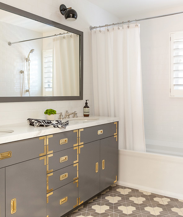 Gray Campaign Vanity With Brass Hardware And Gray Mirror Contemporary Bathroom