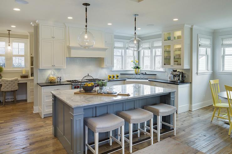 Grey And White Kitchen With Island gray kitchen with yellow pendants design ideas