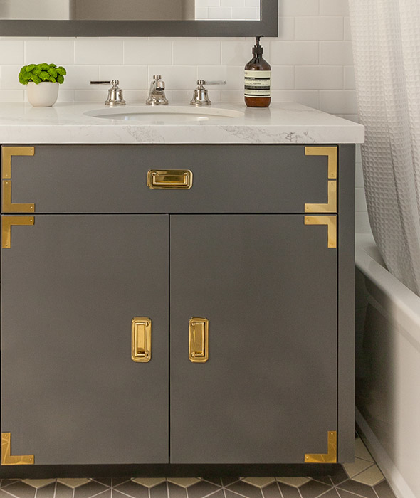 Gold And Gray Campaign Vanity With Gold Hardware